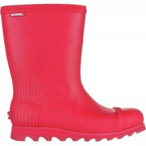 SOREL JOAN SHORT RAIN BOOTS BURNT HENNA RED